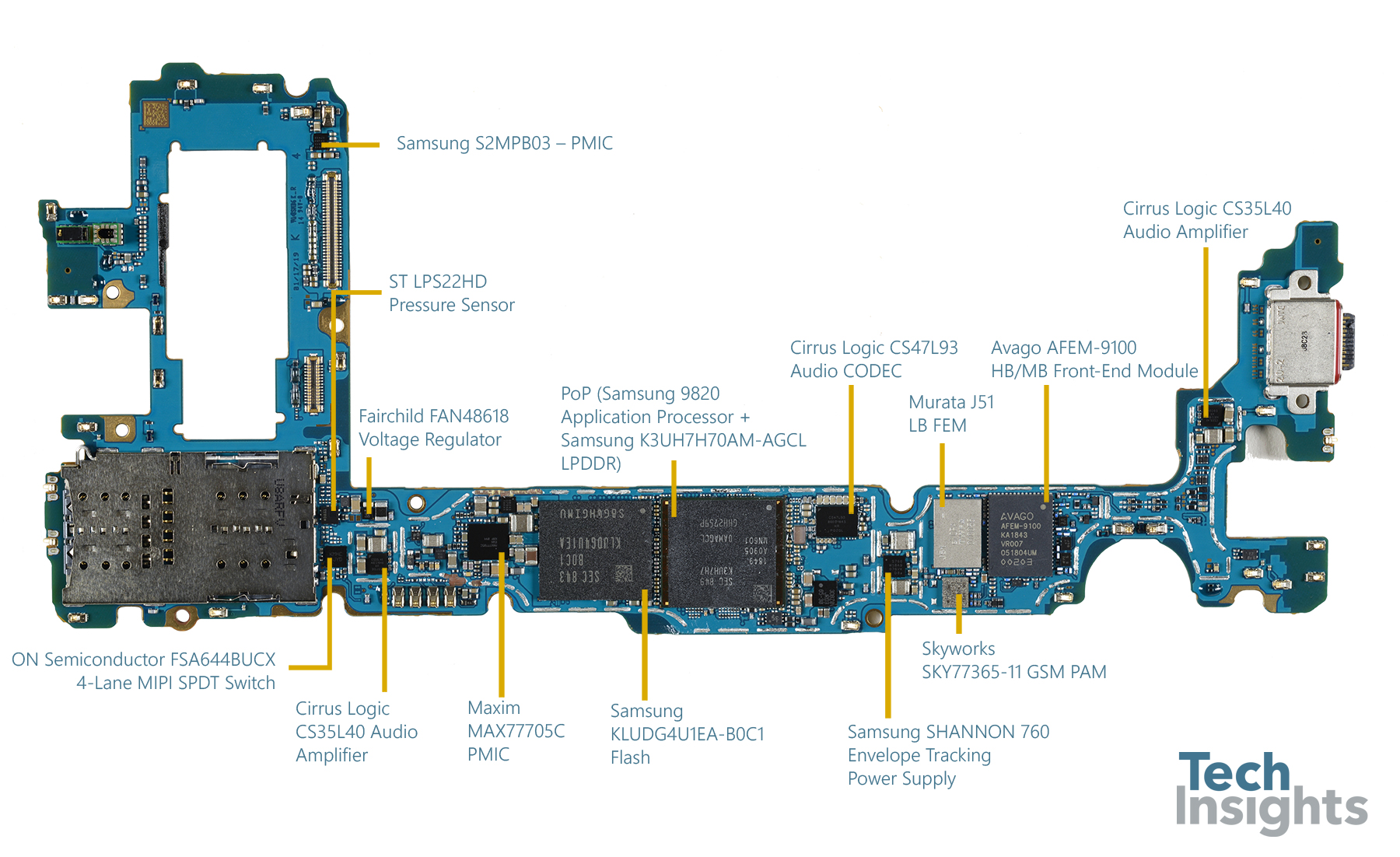 Samsung Galaxy S10+ board shot - Side 1