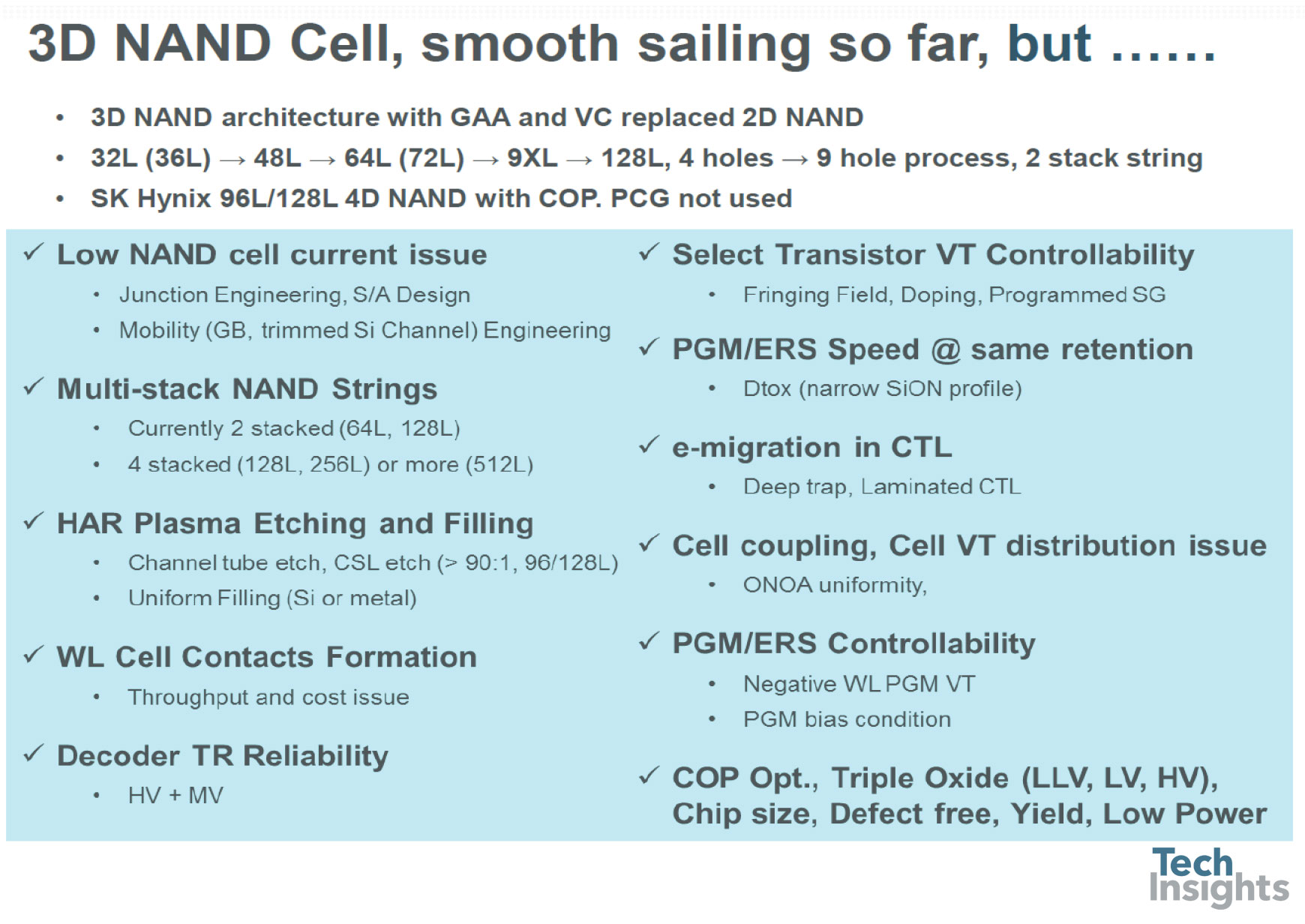 3D NAND cell, smooth sailing so far, but…