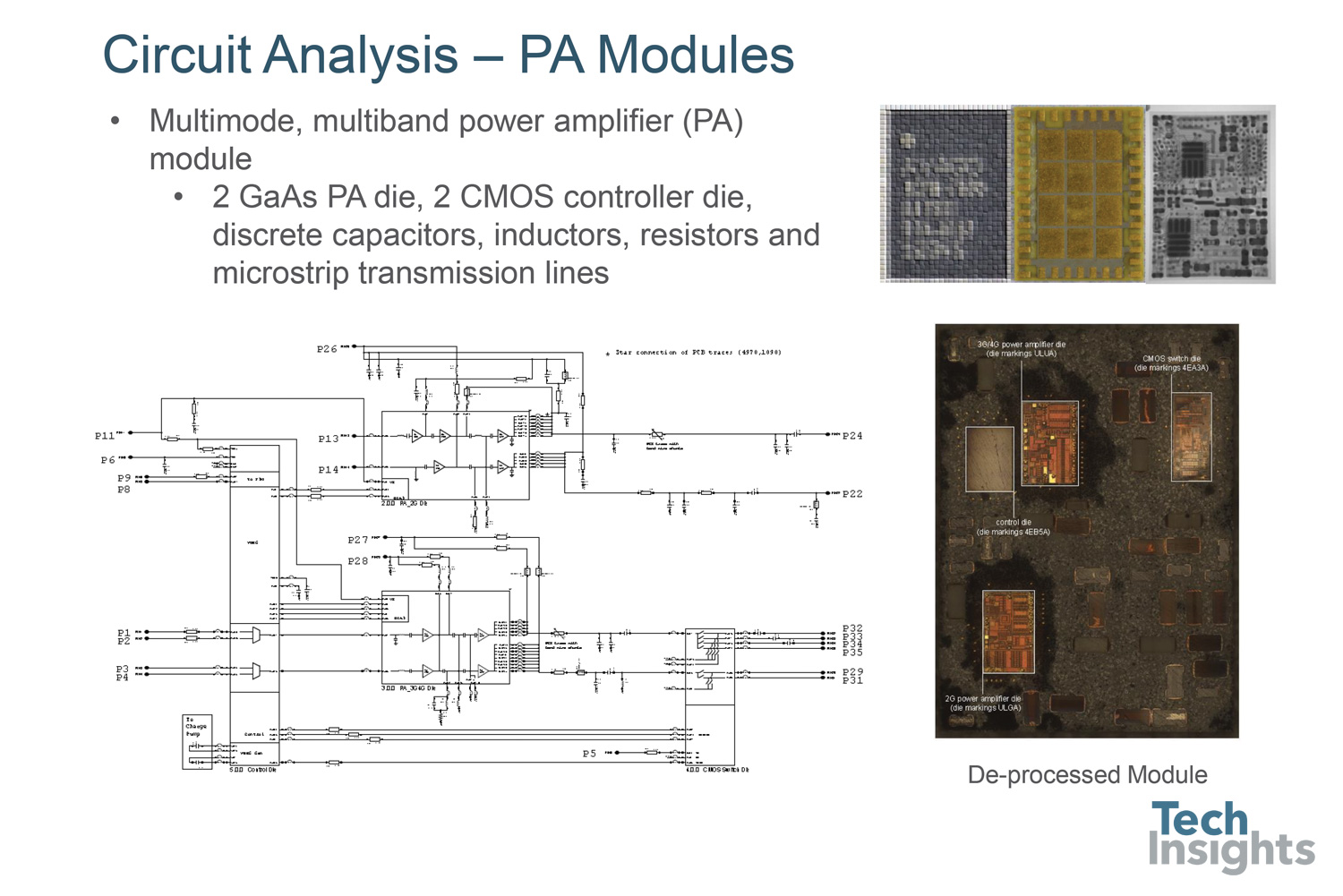 Circuit analysis of a power amp module. This analysis examines the various chips within the module at the transistor level, as well as re-creating the system level schematic of the module as a whole