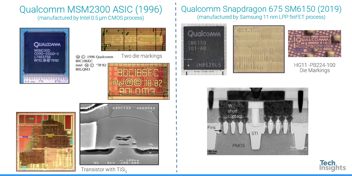 Two devices from fabless company Qualcomm from different times