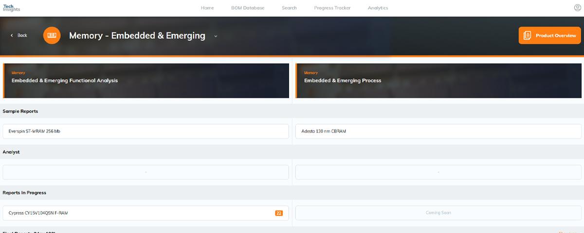 TechInsights Platform - Memory Subscription