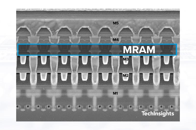 SEM x-section image of TSMC 22ULL eMRAM cell MTJ layer