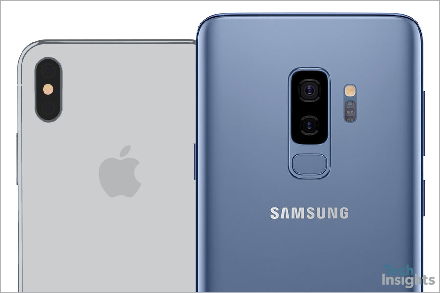Apple iPhone X and Samsung Galaxy S9+